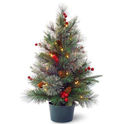24 in. Feel-Real Colonial Small Wrapped Tree with Battery Operated LED Lights
