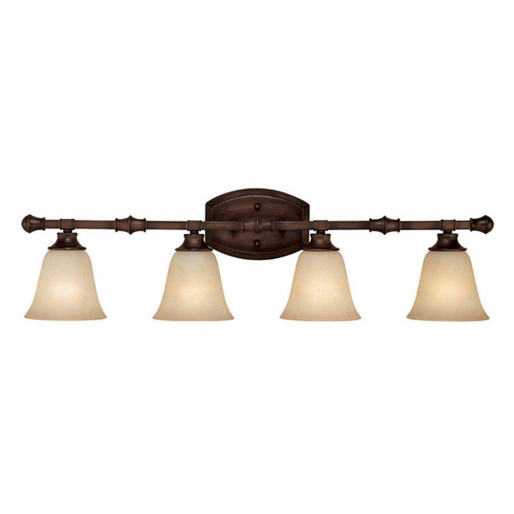 Filament Design Odios 4-Light Burnished Bronze Bath Vanity Light with Mist Scavo Glass