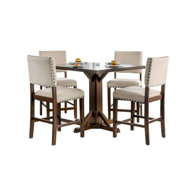 Brown Cherry and Ivory Counter Height Dining Table