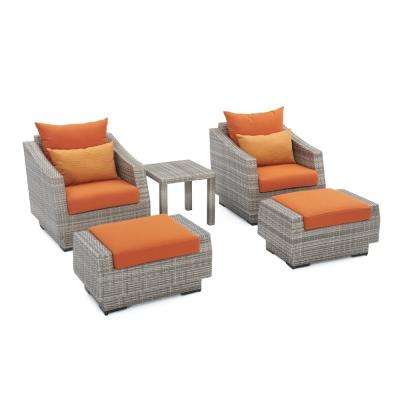Cannes 5-Piece Wicker Patio Club Chair and Ottoman Set with Tikka Orange Cushions