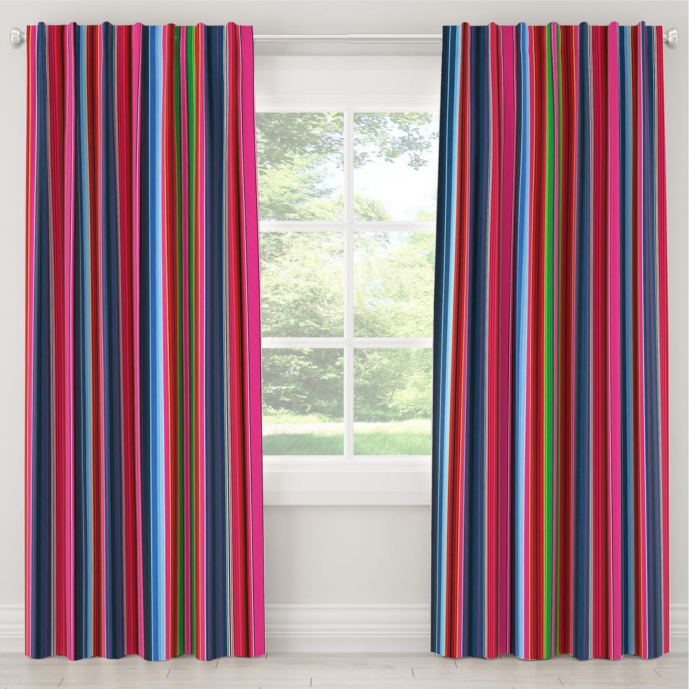 Skyline Furniture 50 in. W x 63 in. L Blackout Curtain in Serape Stripe Bright Multi