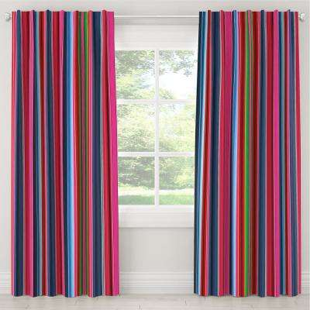 50 in. W x 108 in. L Blackout Curtain in Serape Stripe Bright Multi