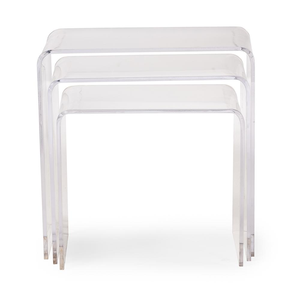 Baxton Studio Clear 3 Piece Nesting End Table 28862 2073