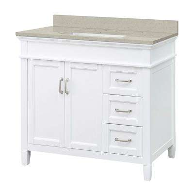 Ashburn 37 in. W x 22 in. D Vanity in White with Engineered Quartz Vanity Top in Stoneybrook with White Sink