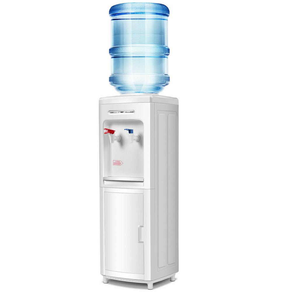 Costway Top Loading 5 Gal. Bottle Load Electric 2-Handle Instant Hot and Cold Water Dispenser in White