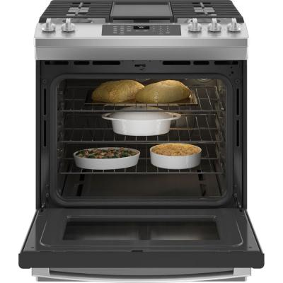 30 in. 5.6 cu. ft. Slide-In Gas Range with Self-Cleaning Convection Oven and Air Fry in Stainless Steel