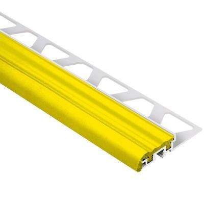 Trep-S Aluminum with Yellow Insert 3/8 in. x 8 ft. 2-1/2 in. Metal Stair Nose Tile Edging Trim