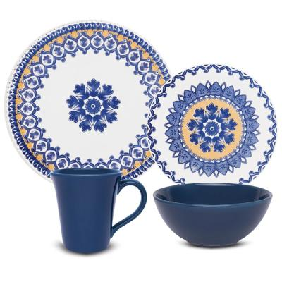 Floreal Blue and Yellow 24-Piece Casual Blue and Yellow Earthenware Dinnerware Set (Service for 6)