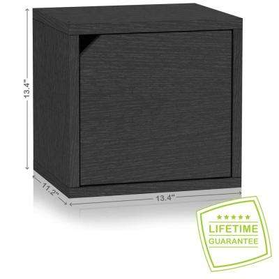 Connect System 11.2 in. x 13.4 in. x 13.4 in. zBoard  Stackable Storage Cube Organizer Unit with Door in Black Grain