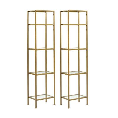 73 in. Soft Gold/Clear Metal 4-shelf Etagere Bookcase with Open Back