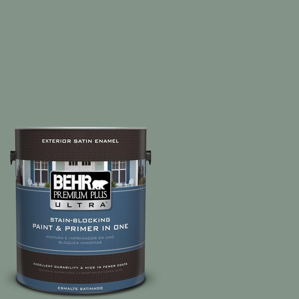 BEHR Premium Plus Ultra 1-gal. #460F-4 Wethersfield Moss Satin Enamel Exterior Paint