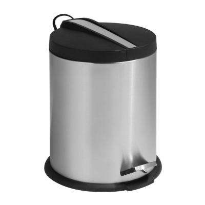 1 Gal. Stainless Steel Round Step-On Touchless Trash Can with Stainless Steel Insert
