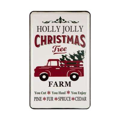 23.62 in. H Christmas Farmhouse Enamel Metal Sign - Truck