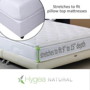 Hygea Natural Bed Bug Mattress Cover or Box Spring Cover Luxurious Plush Fabric Waterproof Encasement in Size Queen
