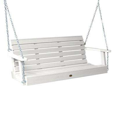 Weatherly 60 in. 2-Person White Recycled Plastic Porch Swing