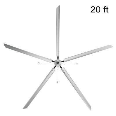 Titan 20 ft. 220-Volt Indoor Anodized Aluminum 3 Phase Commercial Ceiling Fan
