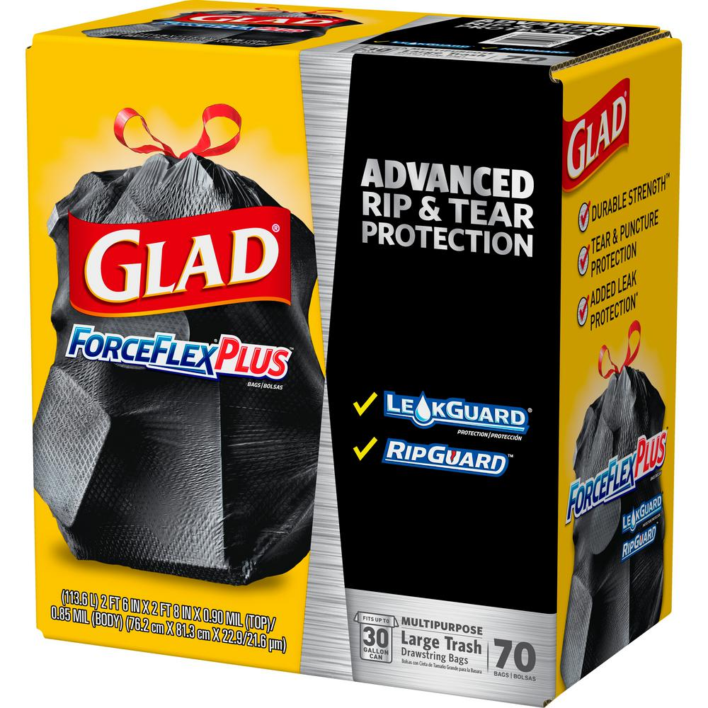 140 ct Glad 33-Gal Except CA ForceFlex Black Drawstring Plastic Trash Bags