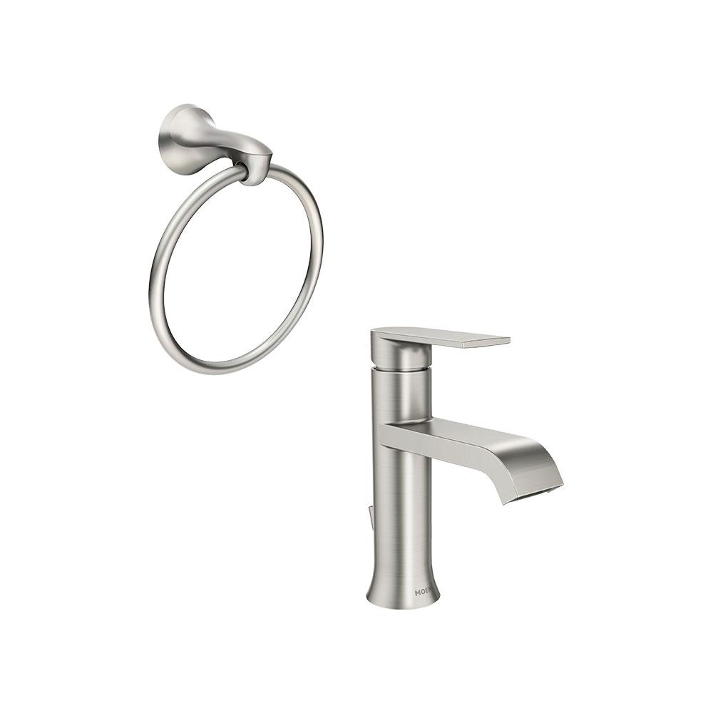 MOEN Genta Single Hole Single-Handle Bathroom Faucet with Towel Ring in Spot Resist Brushed Nickel