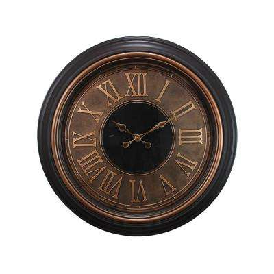 Genoa Oversized 23 in. Wall Clock with Raised Numbers 2 in. D - Antiqued Bronze with Brushed Copper Bezel
