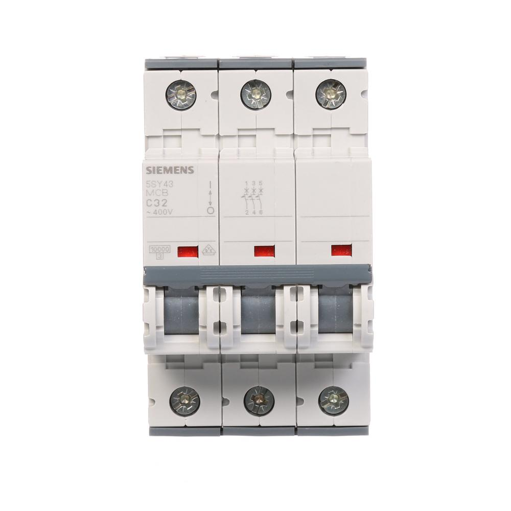 Din Rail Circuit Breakers Power Distribution The Home Depot Load Centers Fuses Miniature 32 Amp Triple Pole Breaker