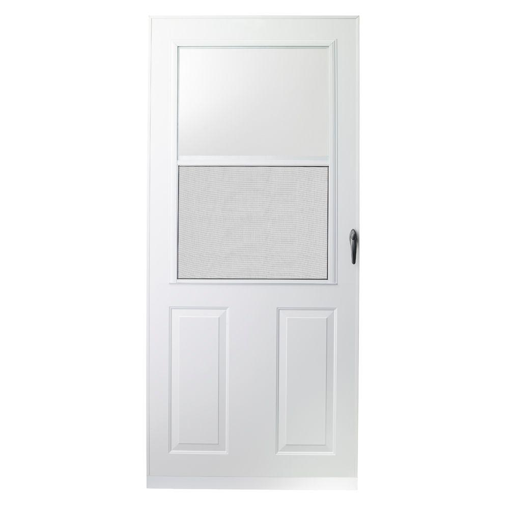 Emco 32 in x 80 in 200 series white traditional storm for 32x80 storm door