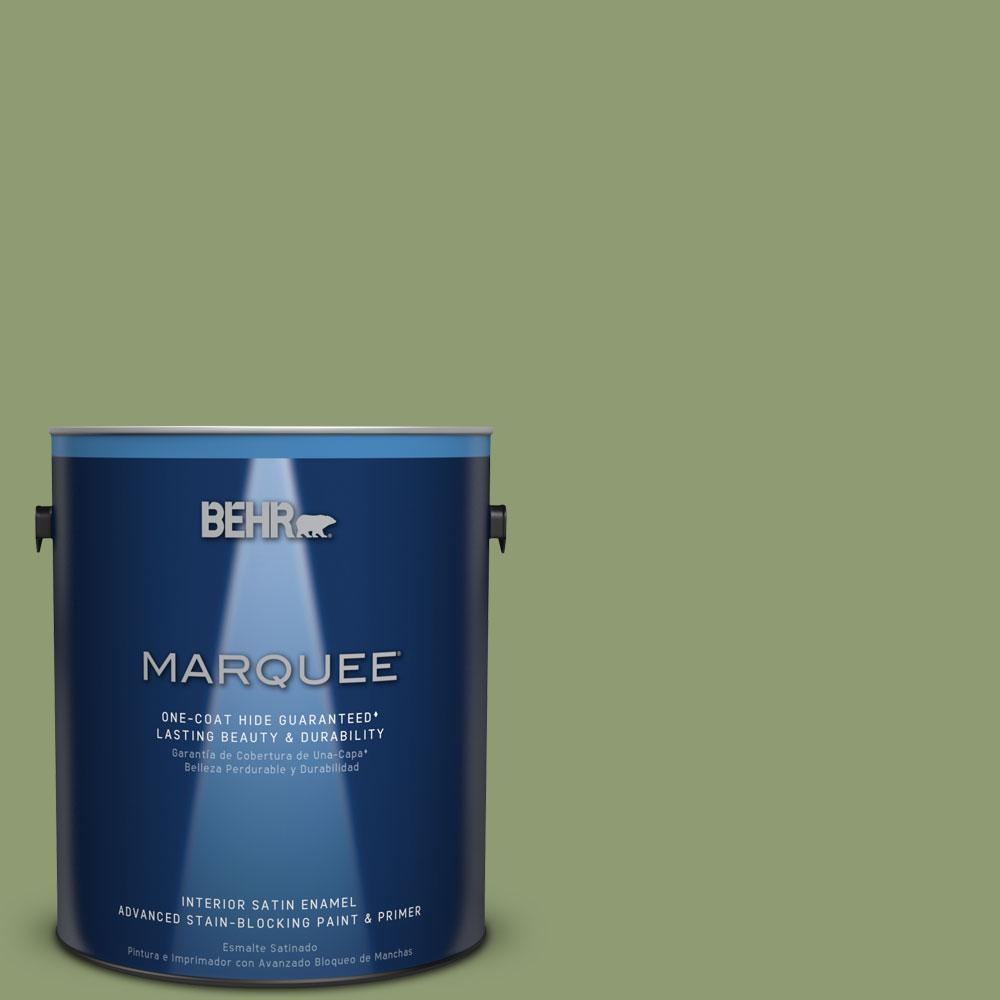 1 gal. #PPU11-4 Alamosa Green One-Coat Hide Satin Enamel Interior Paint