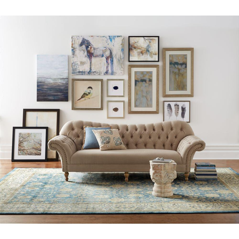 beige sofa linen decorators dark sofas furniture arden living room club loveseats homedepot depot tufted save piece