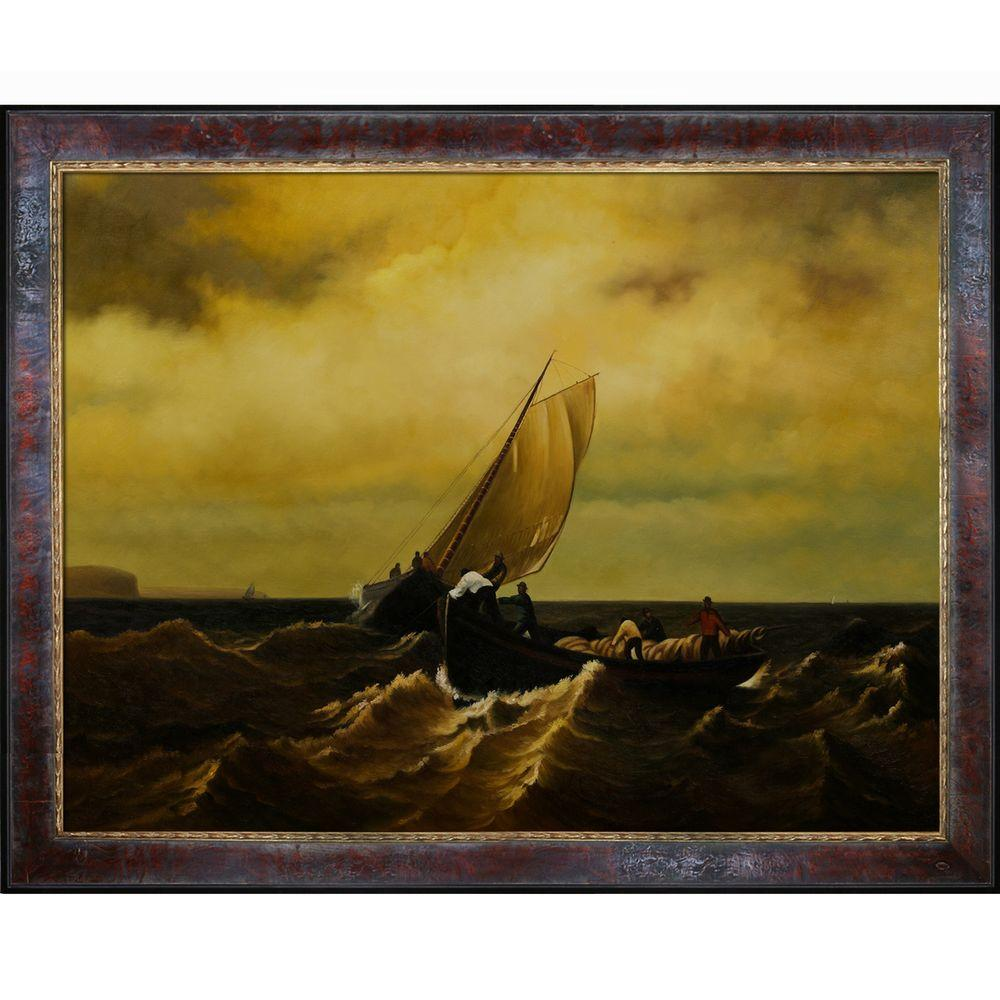 null 30 in. x 40 in. Fishing Boats on Bay of Fundy Framed Hand-Painted Oil Reproduction