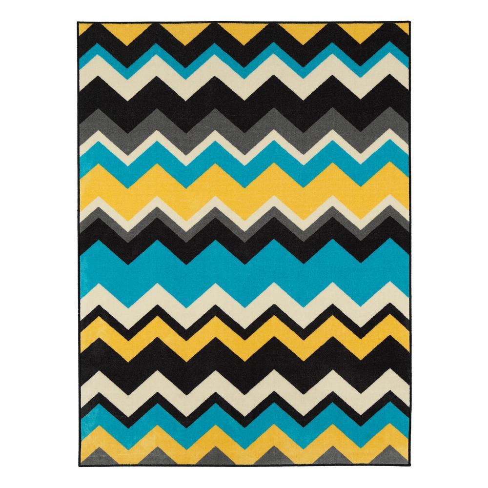 Ottomanson Studio Collection Waves Design Blue 3 Ft X 5 Non Skid
