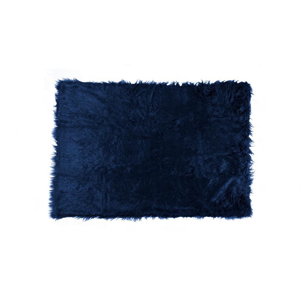 Plano Ink 50 in. x 70 in. Mongolian Sheepskin Faux Fur Throw