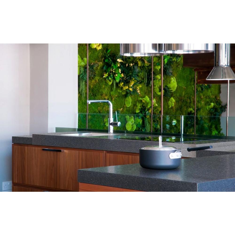 2 in. x 2 in. Solid Surface Countertop Sample in Graphite Granite