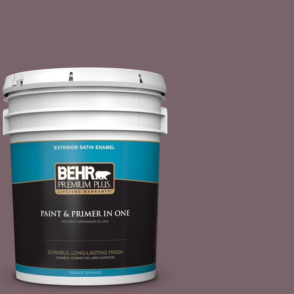 BEHR Premium Plus 5-gal. #100F-6 Plum Shade Satin Enamel Exterior Paint