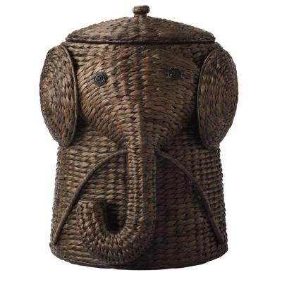 16 in. W Animal Laundry Hamper in Brown