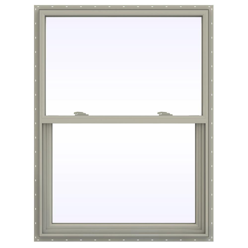 35.5 in. x 41.5 in. V-2500 Series Desert Sand Vinyl Single Hung Window with Fiberglass Mesh Screen
