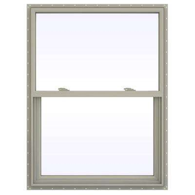 35.5 in. x 47.5 in. V-2500 Series Desert Sand Vinyl Single Hung Window with Fiberglass Mesh Screen