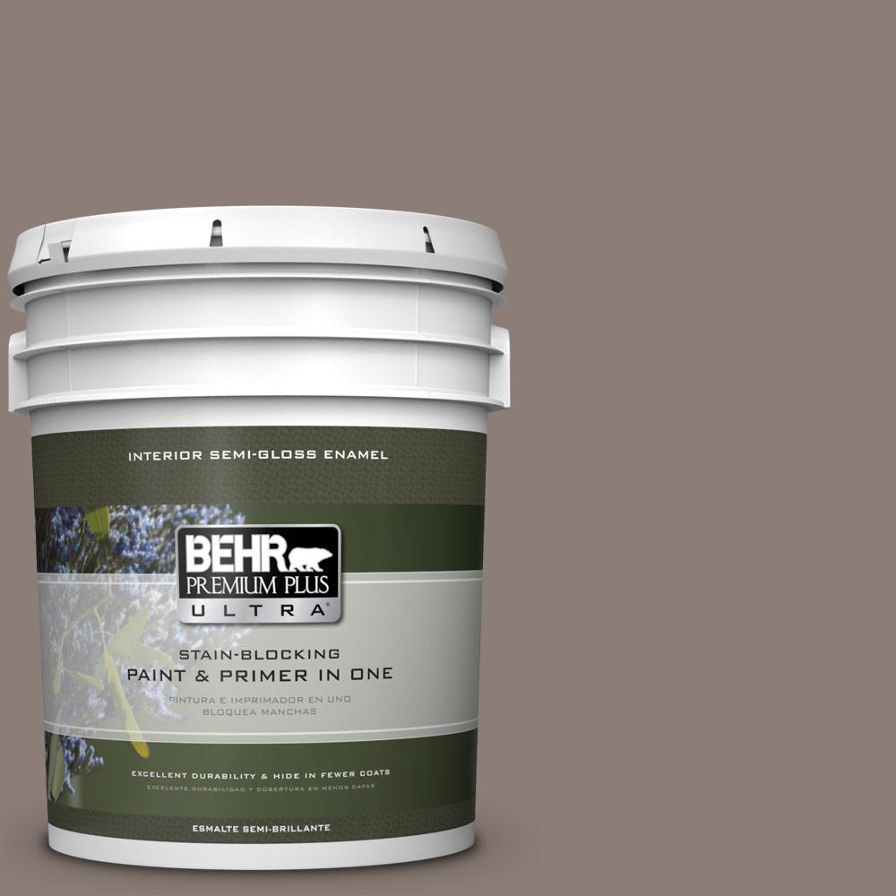 5 gal. #HDC-NT-27B Wild Truffle Semi-Gloss Enamel Interior Paint