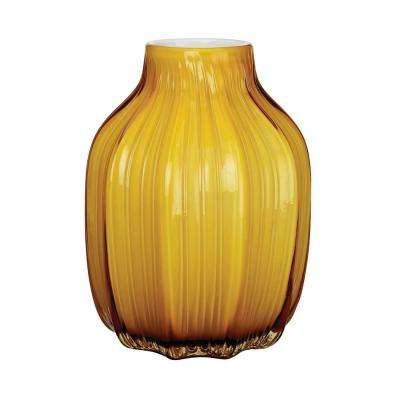 8 in. Corn Husk Glass Decorative Vase in Yellow