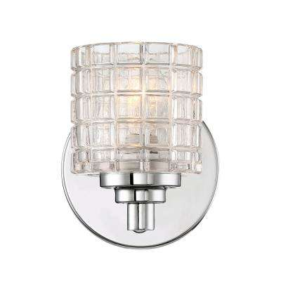 1-Light Polished Nickel Bath Light with Clear Glass