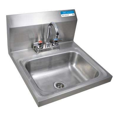 Stainless Steel Wall Mount Hand Sink 14 in. x 10 in. x 5 in. D Bowl with Drain and 4 in. O.C. Deck Mount Faucet