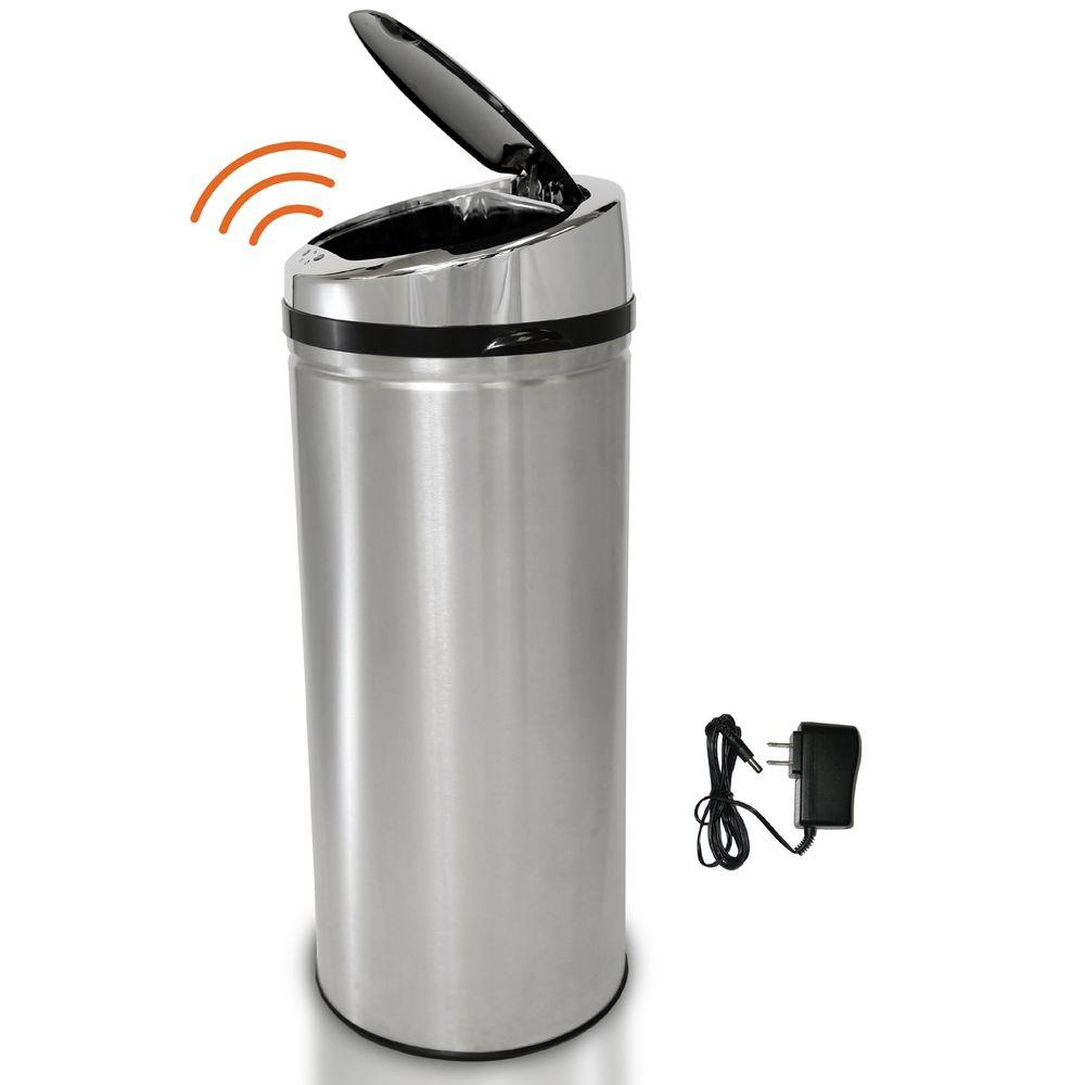 itouchless 8 gal stainless steel motion sensing touchless trash can it08rcb the home depot. Black Bedroom Furniture Sets. Home Design Ideas