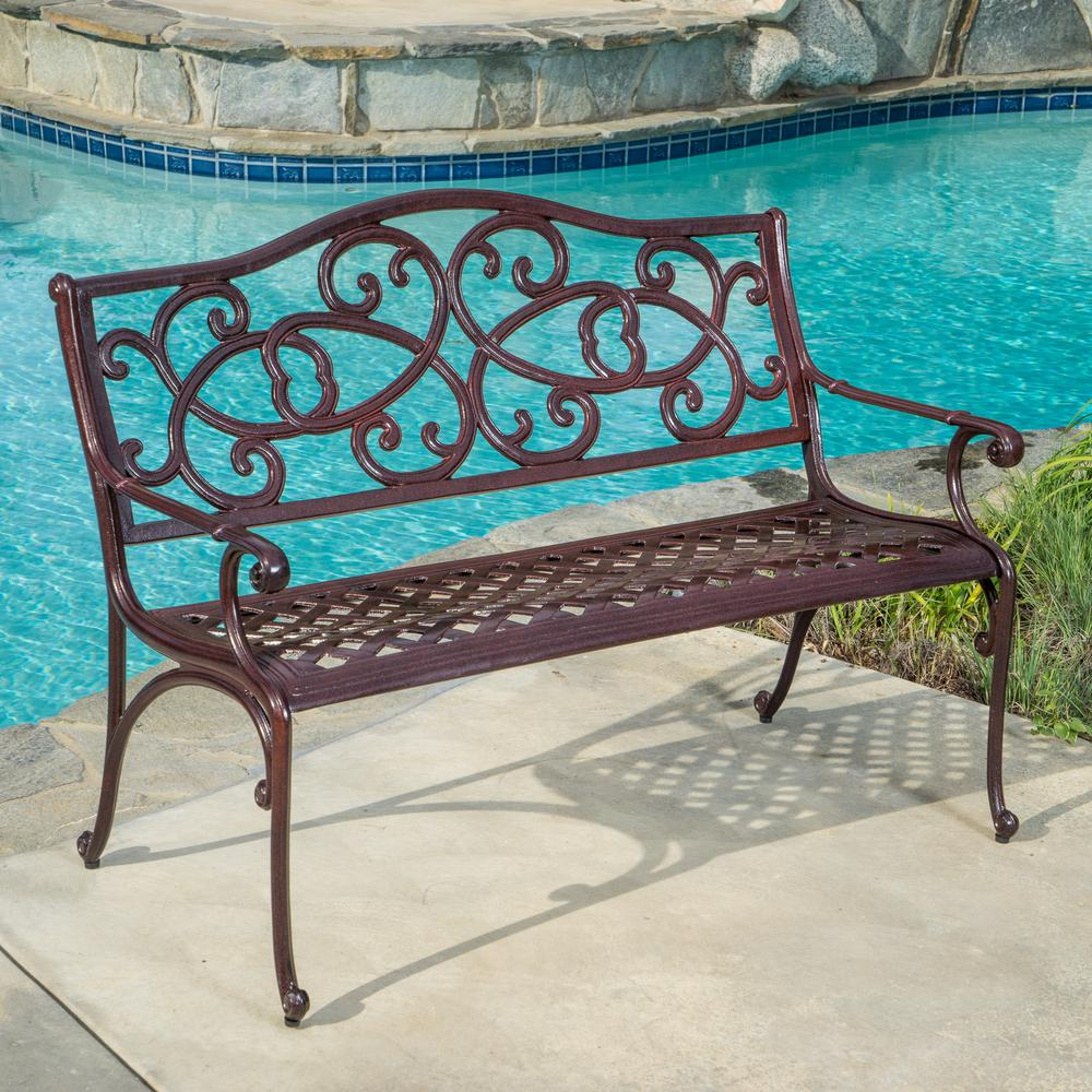 Astounding Noble House Mckinley 48 In Brown Copper Aluminum Outdoor Bench Gmtry Best Dining Table And Chair Ideas Images Gmtryco
