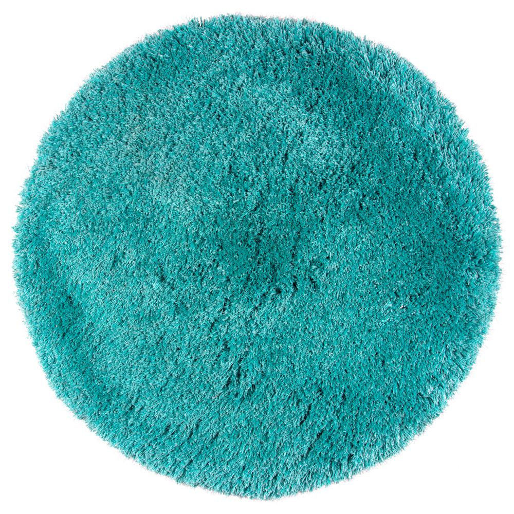 Rizzy Home Commons Teal Polyester Shag 3 Ft X 3 Ft Round