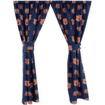 42 in. W x 63 in. L Auburn Tigers Cotton With Tie Back Curtain in Blue   (2 Panels)