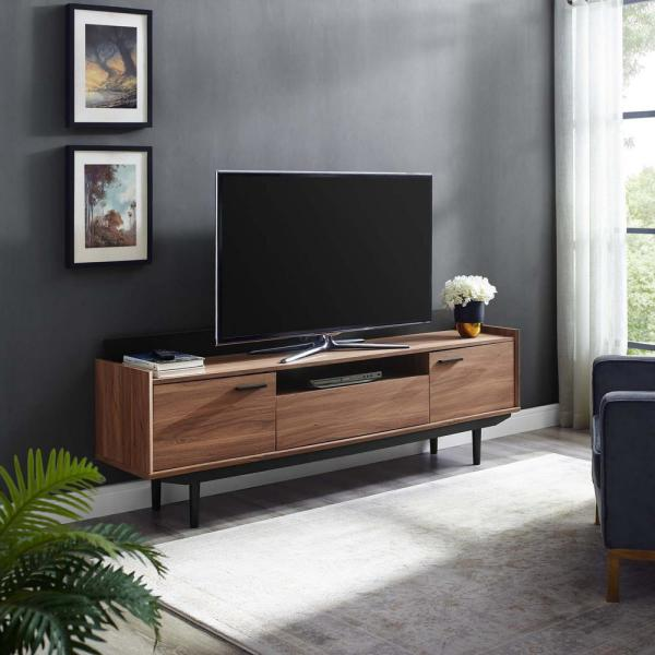 Visionary 71 in. Walnut Wood TV Console Fits TVs Up to 71 in. with Storage Doors