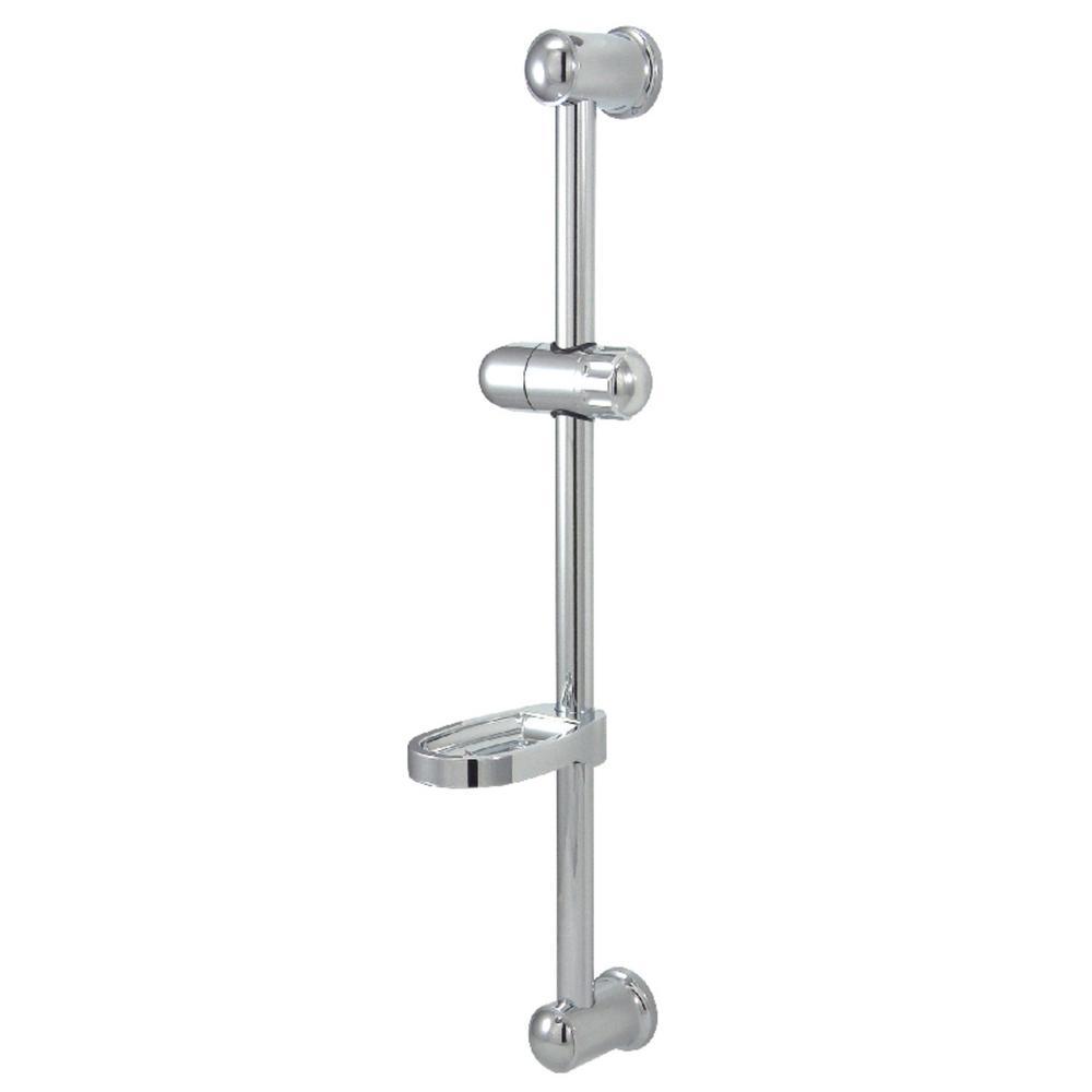 Bathroom Hand Shower Brass Slide Bar Adjustable Height with Soap Dish Chrome