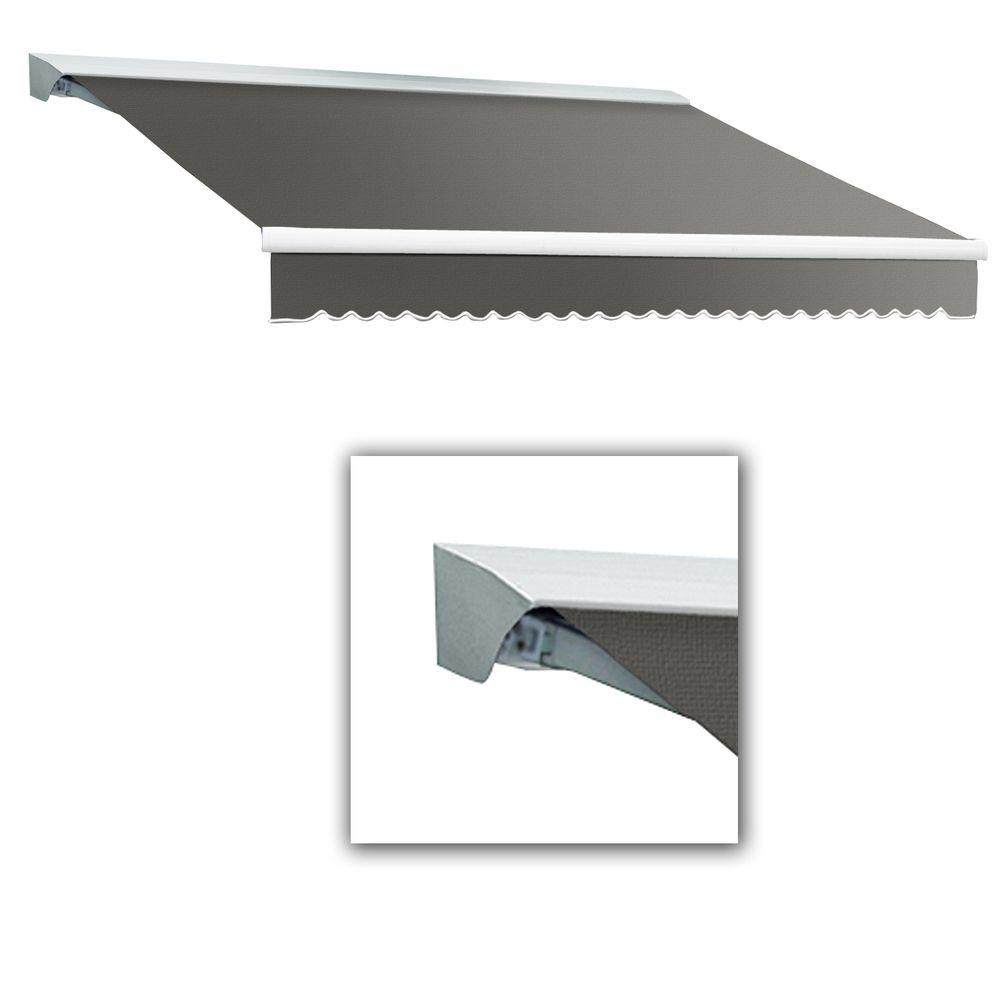 AWNTECH 18 ft. LX-Destin Left Motor Retractable Acrylic Awning with Hood/Remote (120 in. Projection) in Gray