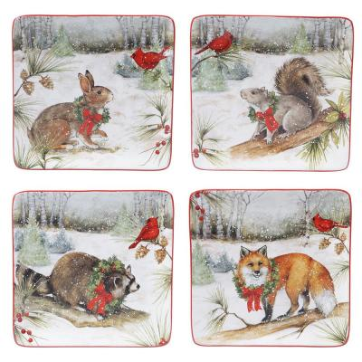 8.25 in. Winter Forest Multicolored Earthenware Dessert Plate (Set of 4)