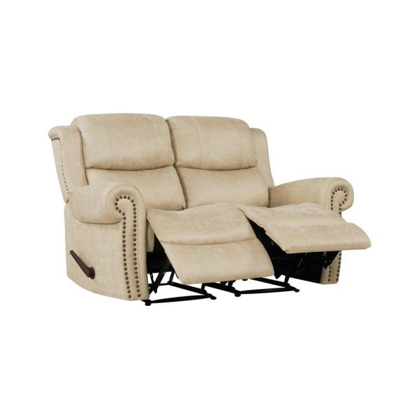 Prolounger 60 5 In Distressed Latte Tan Polyester 2 Seater Reclining Loveseat With Nailheads Rcl60 Nks85 2s The Home Depot
