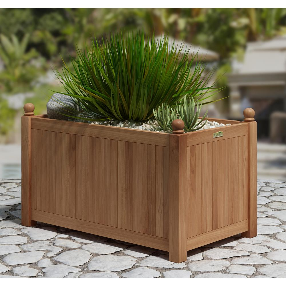 Natural Teak Outdoor Planter Tk8108 The Home Depot