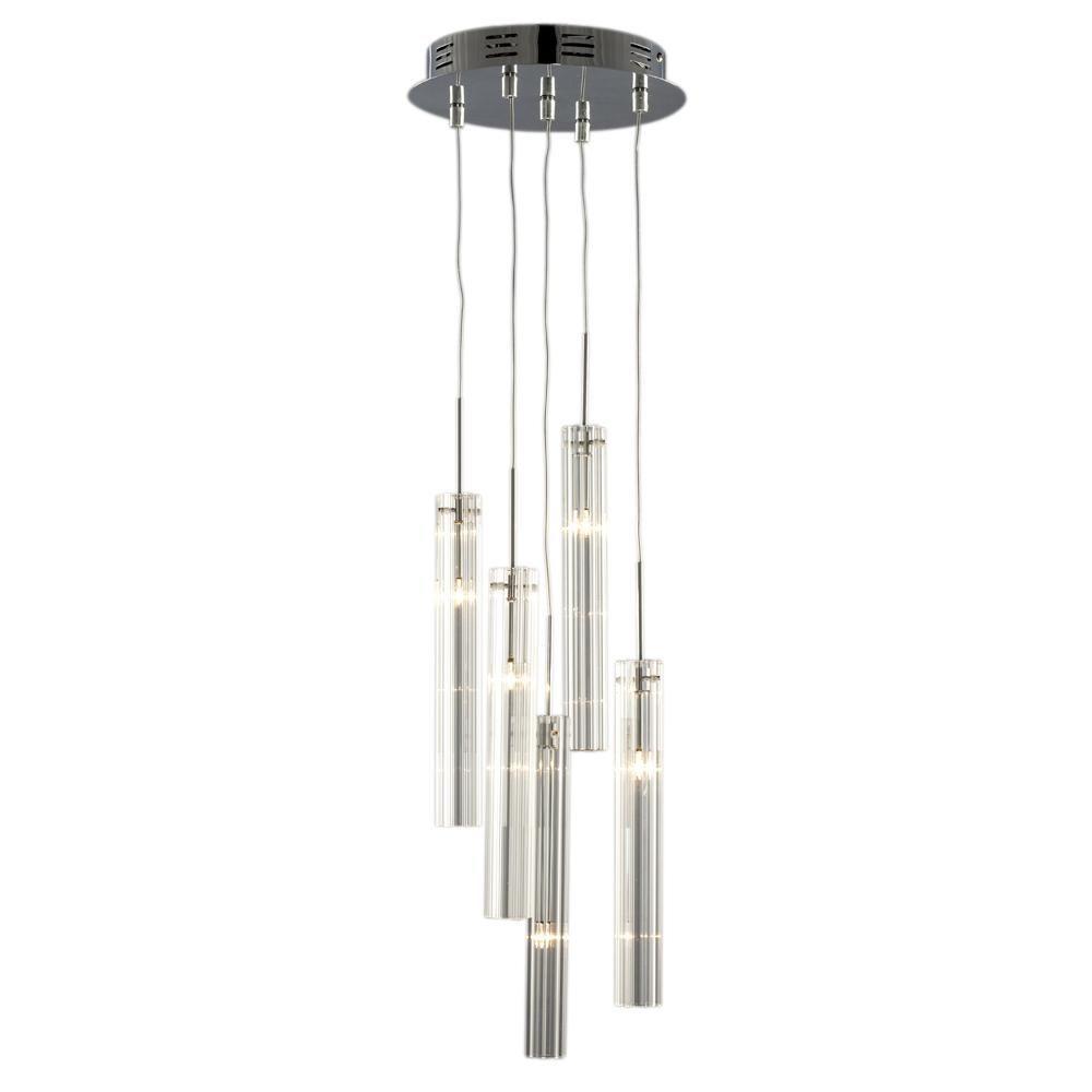 Hoover Industrial Pendant Light: Filament Design Negron 5-Light Chrome Halogen Multi-Light